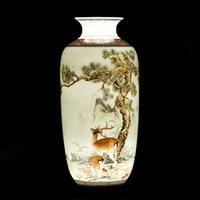 Wholesale chinese flowers vase resale online - Jingdezhen Ceramic Desk Vase Vintage Chinese Traditional Animal Vase Home Decor Smooth Surface Furnishing Articles Flower Pot SH190925
