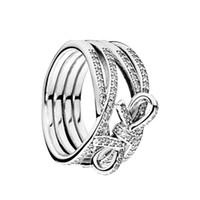 delicados anillos de plata al por mayor-Auténticos anillos de plata 925 en forma de arco con aros Caja original para Pandora Sentimientos delicados Joyería de diseñador de lujo anillos para mujeres
