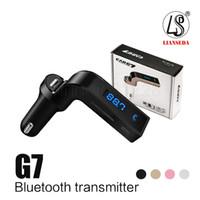 micro manos libres bluetooth al por mayor-G7 Coche inalámbrico Bluetooth MP3 Transmisor FM Modulador 2.1A Cargador de coche Kit inalámbrico Soporte para manos libres Micro SD TF