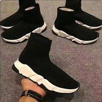 unisex schuhe mode groihandel-2020 Designer-Schuhe Speed Trainer Plattform beiläufige von Triple-Socken Red Bule weiß Wohnung der Frauen Mode Männer Sport-Turnschuhe Art und Weise Größe 35-46
