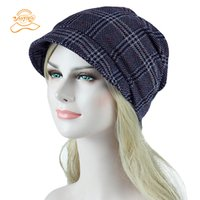 Wholesale ladies fashion hats for sale - Group buy with brim Hat Women Crochet Knit Cap Winter Skullies Beanies Warm Caps Female Knitted lattice Hats For Ladies Fashion