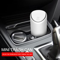 lixo automático venda por atacado-Trash carro pode Organizador Garbage Titular Automobiles Storage Bag Acessórios Auto flip tampa de lixo Box Trash Bin Paper Dustbin