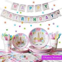 juegos de servilletas al por mayor-Set de artículos para la fiesta Unicornio Para 16 invitados Decoraciones de cumpleaños para niños Cubiertas de mesa desechables, platos, tazas, servilletas, vajilla, pancarta