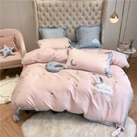 Wholesale modern girls beds for for sale - Stars moon embroidery Bedding Set King Queen Size egyptian cotton Bed Linen Duvet Cover Bed Sheet Pillowcases for girls