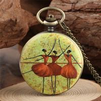 Wholesale ballet dancer paintings resale online - Vintage Bronze Ballet Dancer Painting Design Pocket Watch Women Lady Quartz Analog Watch Necklace Pendant Chain Clock Gift