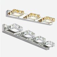 ingrosso moderne lampade da parete in acciaio inox-Lampade a LED a specchio Modern Bathroom Lampade da parete in cristallo cosmetico 1-4heads Apparecchi di illuminazione per interni in acciaio inossidabile