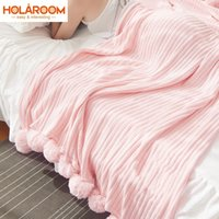 Wholesale bedding for queen size beds online - Solid Color With Ball Blanket For Beds Cotton Soft Blankets Girl Bedding Warm and Cute Nap Bedspread Sizes Available