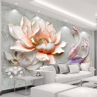 Wholesale large lotus mural resale online - Custom Photo Wallpaper D Stereo Embossed Lotus Fish Large Murals Wall Painting Modern Living Room Bedroom Backdrop Decor Mural