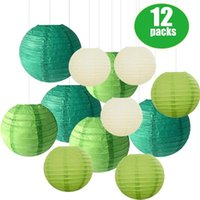 Wholesale chinese hanging decor for sale - Group buy 12 set Paper Lantern with Assorted Sizes Round Mix Colors Green Beige Chinese Paper Lampion Wedding Party Hanging Decor Supplies