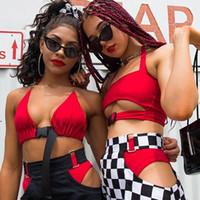 roter sexy halfter bh großhandel-Frauen Sexy Feste Crop Top Rot Schwarz Schlange Sommer Mode Tank Top Bustier Bh Weste Crop Neckholder Schnalle Camis Neu