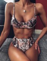 senhoras bonitas do biquini venda por atacado-painel set Bikini bela elegantes flexível das mulheres swimwear swimwear cintura alta impressão natação desgaste leopardo dividir oco senhoras menina yakuda