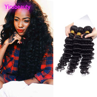 Wholesale permed hair extensions for sale - Group buy Brazilian Virgin Hair Extensions Deep Wave Bundles inch Human Hair Natural Color Remy Hair Wefts