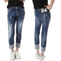 blanquear las mujeres sexy al por mayor-Dobladillo enrollable para mujer Denim Jean Bleach Wash Paint Daños jeans con 64 detalles de parche Sexy Twist Fit