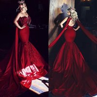 Wholesale beige sexy prom dresses for sale - Group buy 2020 Red Mermaid Evening Dresses Satin With Lace Applique Sequins Rhinestone Prom Dress Sweep Length Party Gowns