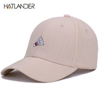 головные уборы для мужчин оптовых-Hatlander embroidery badminton baseball cap curved summer snapback hats bone sports casquette linen cotton hat for men women cap