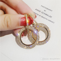 ingrosso orecchini a goccia di zircone-Moda scintillio rotondo orecchini zircone per le donne Regali cristallo doppio cerchio ciondola orecchino goccia gioielli festa nuziale HH