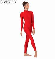 черные женщины танцуют шею оптовых-OVIGILY женская высокая шея цельный комбинезон спандекс лайкра гимнастика комбинезоны боди для взрослых водолазка черный балет танцевальная одежда