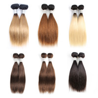 weben kurze bob großhandel-Günstige Farbe Menschliche Haarwebart Bundles Ombre blond Braun Kurze Bob 10-12 Zoll 4 Bundles / set Malaysian Glattes Haar Remy Haarverlängerungen