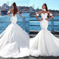 Wholesale size 14 summer wedding dress resale online - Plus Size Mermaid Wedding Dresses Illusion Lace Appliques Beads Bridal Gowns Vestido Novia