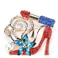 Wholesale highest heels china for sale - Group buy 100pcs New fashion classic lipstick high heels blue flower pin white rhinestone lipstick high heels brooch for gift party