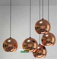 ayna topu ışıkları modern toptan satış-Wonderland Modern Bakır Şerit Gölge Ayna Avize Işık E27 Ampul LED Sarkıt Modern Noel Cam Top Aydınlatma