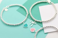 ingrosso turchese in rame nero-Bracciale in argento sterling Tiffany S925 cuore regalo per ragazza 3 colori + scatola