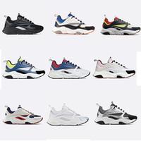 cores de apartamentos venda por atacado-Designer B22 lona e malha Técnico bezerro Sneaker Vintage Shoes Homens Mulheres Plano instrutor de couro real Sneakers Plataforma 19 cores US12