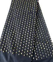 schwarze guipure spitze stoff großhandel-Schwarzes Gold 5 Yards Guipure-Spitze Stoff Afrikanischer Spitze Stoff Nigerianischer Garmenttuch groß schwer flexibel