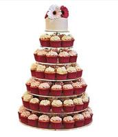 ботинки оптовых-Бесплатная доставка Новый 2019 Новый 7 ярус прозрачный акриловый круглый кекс стенд день рождения свадьба дисплей свадебный торт топпер