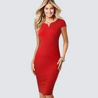 klasik kadın külotları kadınlar toptan satış-Katı renk klasik Kılıf Bodycon kadınlar elbise V Yaka Kısa Zarif iş Kalem yaz elbise HB508