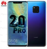 huawei phone оптовых-HUAWEI Mate 20 Pro Мобильный телефон 6,39 дюйма Полноэкранный водонепроницаемый IP68 40 MP 4 камеры Кирин 980 ядро быстрое зарядное устройство 10 В / 4 А