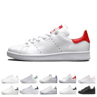 Wholesale best discount boots for sale - Group buy Best discount smith men women stan shoes black white red blue silver pink smith sneakers Casual shoes leathe size