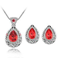 ingrosso set di gioielli in massa-Bulk Lots 9 colori goccia d'acqua collana di cristallo orecchini set lampadario donne choker set di gioielli da sposa decorazione del partito