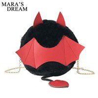 Wholesale dream locks resale online - Mara s Dream Plush Little Monster Bat Small Round Bag Halloween Devil Handbag Cute Cartoon Women Chain Shoulder Bags with