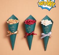 çikolatalı duş iyilikleri toptan satış-Nikah Şekeri Kutuları Kağıt Forest Green Dondurma Külahları Tutucu Eşantiyon Kutu Poşet Parti Çikolata Hediye Kutusu Baby Shower Yana