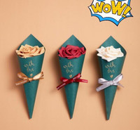 Wholesale wedding shower giveaways resale online - Wedding Favors Candy Boxes Paper Forest Green Ice Cream Cones Holder Giveaways Box Sachet Party Chocolate Gift Box Baby Shower