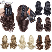Wholesale claw clip wavy hair resale online - S noilite Short Wavy Curly Ponytail Claw Jaw in Hairpiece Real Natural Clip in Hair Extensions Black Brown Pony Tail