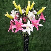 fausses fleurs de lys rose achat en gros de-11p faux lis fleur artificielle lis trois tête blanche / rose lis fleur tiges pour la maison de mariage décor artificiel fleur