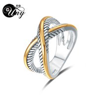 Wholesale fashion wire ring resale online - UNY Ring David Vintage Designer Fashion Brand Rings women Wedding Valentine Gift Ring Two color plating Twisted Cable Wire Rings