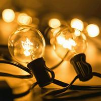 cadena de luz vintage al por mayor-Luces de patio G40 Globe Party Christmas String Light, Blanco cálido 25Clear Vintage Bulbs 25ft, Garland decorativo al aire libre