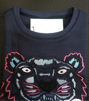 xxl hoodie da marinha venda por atacado-Bordado tigre cabeça camisola homem mulher de alta qualidade manga longa O-pescoço pullover Hoodies Camisolas jumper melhor qualidade Azul Marinho S-XXL