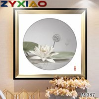 Wholesale art lotus oil painting resale online - ZYXIAO flower White Lotus modern Oil painting on Canva Professional Art Poster No Frame Wall Picture for Living Room Sofa Home Decor A9387