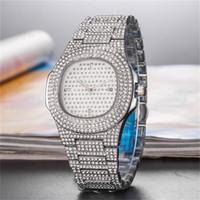 tam elmas kuvars toptan satış-Erkek Kadın Kare Kuvars saatı Relogio Masculino montre de luxe için lüks tasarım tam Elmas Buzlu Out İzle