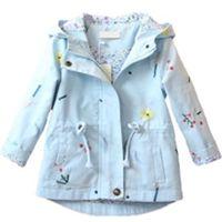 ingrosso boutique di cappotto di trincea-Autunno bambina outwear moda boutique bambini ragazza con cappuccio fiore ricamo giacca a vento cappotto bambini giacca