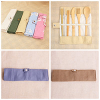 Wholesale bamboo kitchen cloths resale online - Wooden Dinnerware Set Bamboo Teaspoon Fork Soup Knife Straw Catering Cutlery Set with Cloth Bag Kitchen Cooking Tools Camp Kitchen ZZA1149
