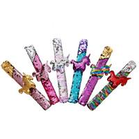 Wholesale kids girls bracelets resale online - 1PCS Unicorn Slap Automatic Bracelets Flamingo Glitter Sequins Mermaid Party Favors Girls Birthday Wedding Party Toys Kids Gifts