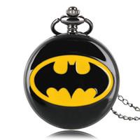 cadeias de batman venda por atacado-Superhero Moda Preto Batman Relógio de Bolso De Quartzo Cadeia Colar Casual Número Romano Jóias Liso Pingente de Presentes de Luxo para Mulheres Dos Homens Das Crianças