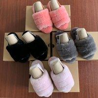 sandalias de marca para niñas al por mayor-Marca Fluff para niños Yeah Slide Zapatos de diseño para niños Sandalias para niñas Zapatillas con sandalias de piel Sandalias para niños Zapatillas con pelos Zapatillas Hausschuhe Slides