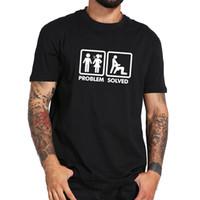 ingrosso t-shirt umoristiche-Problema risolto T Shirt Humor Men Spoof Marriged Couple Question Divertente T shirt in cotone 100% Trump sudore sporter t-shirt