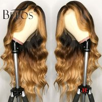 Wholesale body wave brazilian monofilament wig for sale - Group buy Beeos Brazilian Remy Body Wave Lace Front Human Hair Wig Ombre Blonde Highlights Color Density Middle Part Pre Plucked